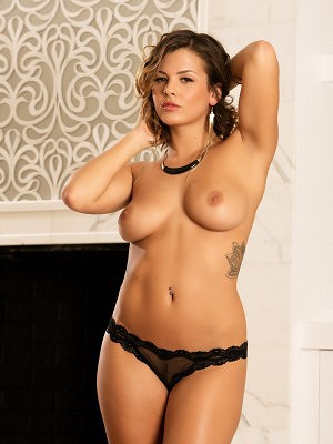 Keisha Grey takes off her sexy red dress to show her amazing breasts.